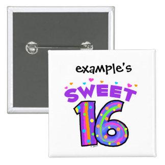 Botón del dulce 16 - cree sus los propios pin cuadrado