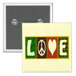 Botón del edredón del amor de la paz pin cuadrado
