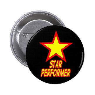 Botón del ejecutante de la estrella pin redondo de 2 pulgadas