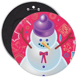 Botón del ejemplo del muñeco de nieve pin redondo de 6 pulgadas