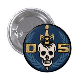 Botón del emblema del peligro 5 pin redondo de 1 pulgada