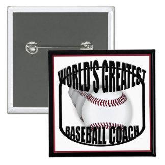 Botón del entrenador de béisbol pin cuadrado