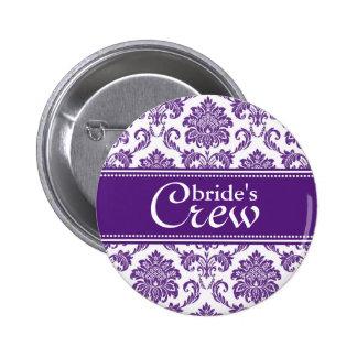 Botón del equipo de la orquídea de la novia oscura pin redondo de 2 pulgadas