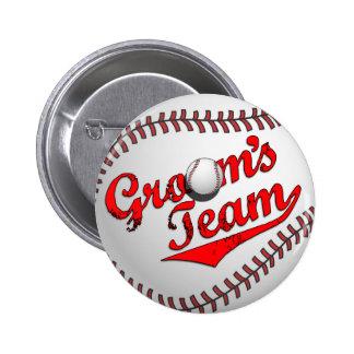 Botón del equipo del novio del béisbol pin redondo de 2 pulgadas