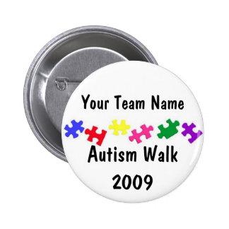 Botón del equipo del paseo 2009 del autismo pin redondo de 2 pulgadas