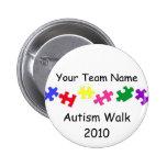 Botón del equipo del paseo 2010 del autismo