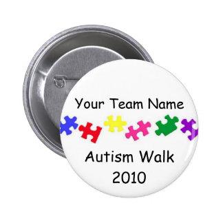 Botón del equipo del paseo 2010 del autismo pin redondo de 2 pulgadas