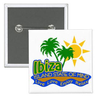 Botón del estado de ánimo de Ibiza Pin Cuadrado