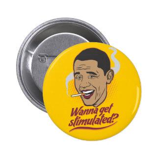 Botón del estímulo de Obama Pin Redondo De 2 Pulgadas