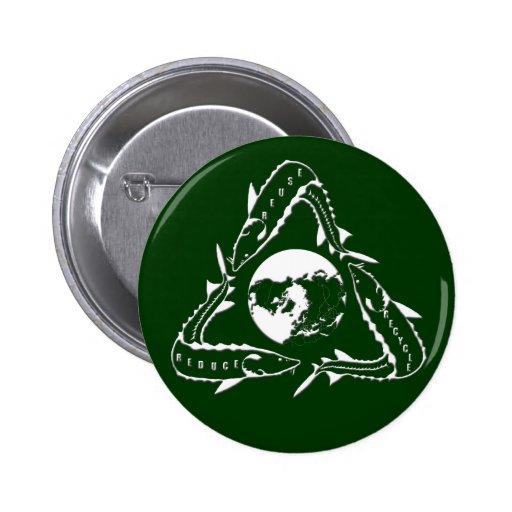 Botón del esturión - recicle - blanco pin