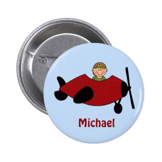 Botón del favor del aeroplano de los niños pin redondo de 2 pulgadas