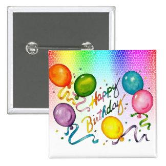Botón del feliz cumpleaños pin cuadrado