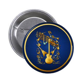 Botón del fiesta de la guitarra del oro pin redondo de 2 pulgadas