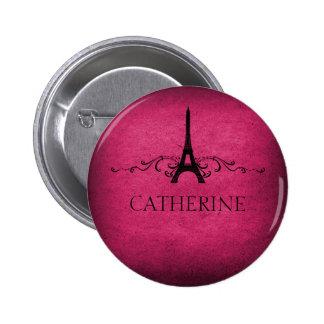 Botón del Flourish del francés del vintage, rosado Pin