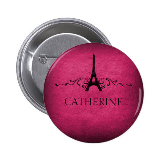 Botón del Flourish del francés del vintage, rosado Pin Redondo De 2 Pulgadas
