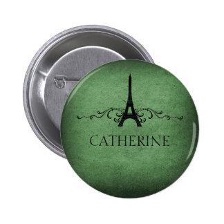 Botón del Flourish del francés del vintage, verde Pin Redondo De 2 Pulgadas