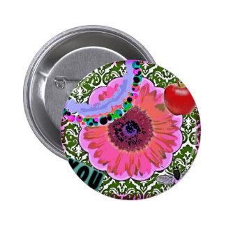 Botón del flower power pin redondo de 2 pulgadas