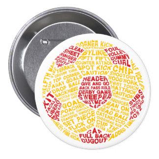 Botón del fútbol del Pin de la tipografía del