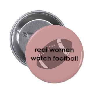 Botón del fútbol del reloj de las mujeres reales pin redondo de 2 pulgadas