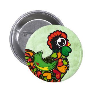 Botón del gallo de Barcelos del portugués Pin Redondo De 2 Pulgadas