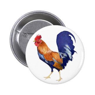 Botón del gallo pin redondo de 2 pulgadas