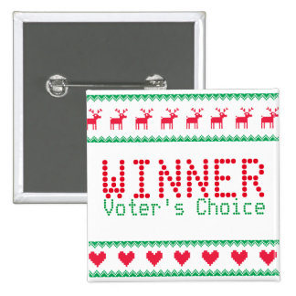 Botón del ganador para el fiesta pegajoso del pin cuadrado