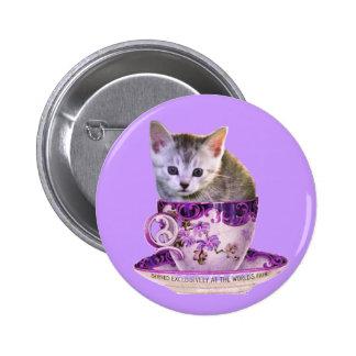 Botón del gato 2 del cafeína pin redondo de 2 pulgadas