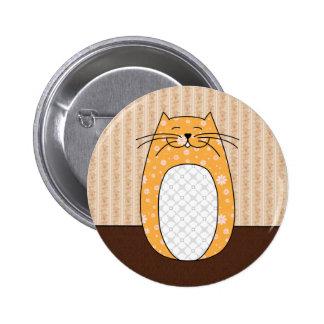 """Botón del """"gato anaranjado"""" pin redondo de 2 pulgadas"""