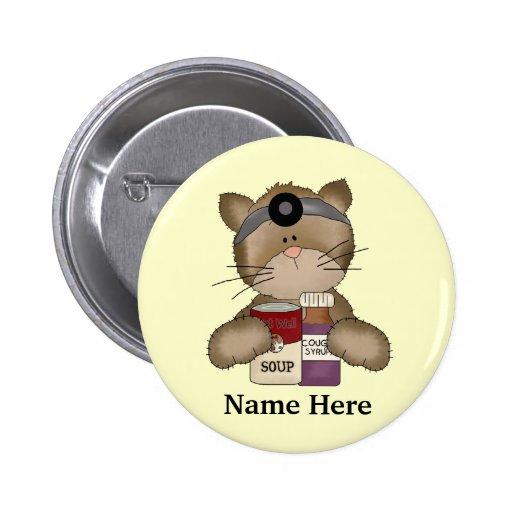 Botón del gato de la enfermera pin