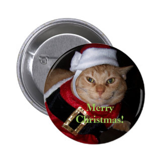 Botón del gato de Santa de las Felices Navidad Pin
