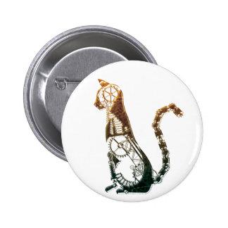 Botón del gato de Steampunk Pin Redondo De 2 Pulgadas