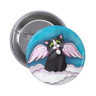 Botón del gato del ángel de guarda pin redondo de 2 pulgadas