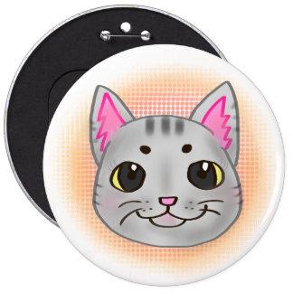 Botón del gato del gatito de Kawaii Pin Redondo De 6 Pulgadas