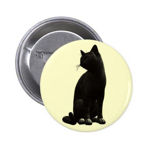 Botón del gato negro que se sienta pin