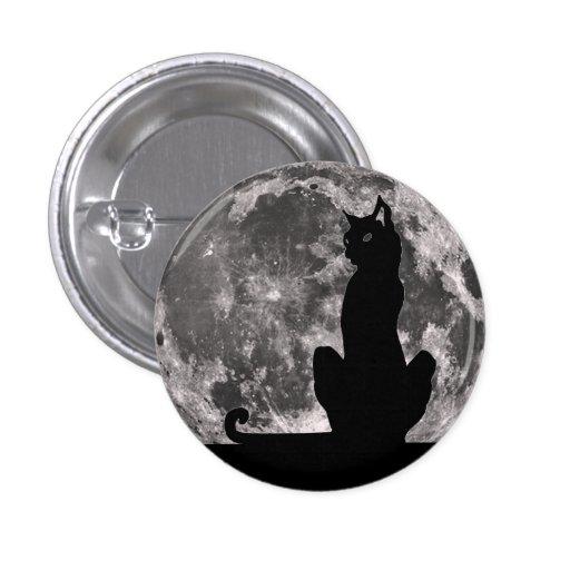 Botón del gato negro y de la Luna Llena Pin