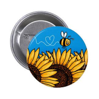botón del girasol del rastro de la abeja pin redondo de 2 pulgadas