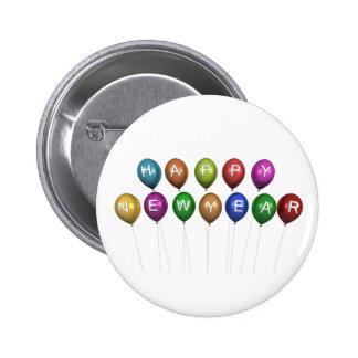 Botón del globo de la Feliz Año Nuevo Pin Redondo De 2 Pulgadas