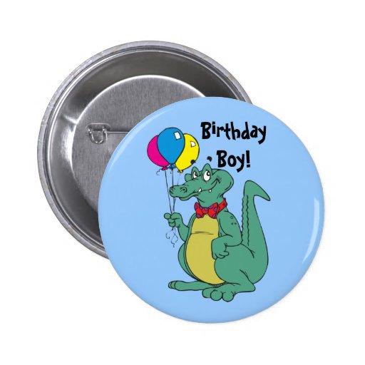 Botón del globo del cocodrilo del feliz cumpleaños pins