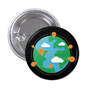 Botón del globo del día del rasguño (negro) pin redondo de 1 pulgada
