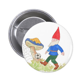 Botón del gnomo del fútbol pin redondo de 2 pulgadas