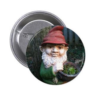 Botón del gnomo del jardín pin redondo de 2 pulgadas