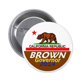 Botón del gobernador 2014 de BROWN Pin