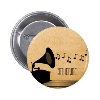 Botón del gramófono del vintage del ébano pin redondo de 2 pulgadas