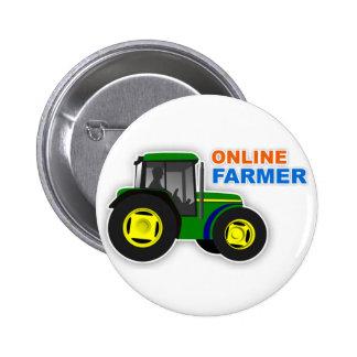 "Botón del ""granjero en línea"" pin redondo de 2 pulgadas"