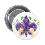 Botón del Grunge de la flor de lis del carnaval Pins