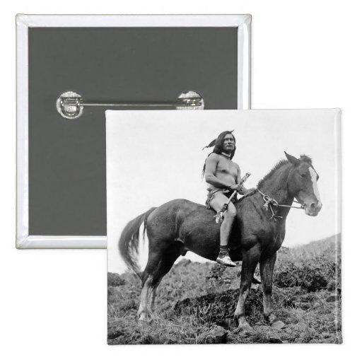 Botón del guerrero de Nez Perce Pin Cuadrado