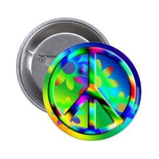 Botón del Hippie del flower power del signo de la  Pin Redondo De 2 Pulgadas