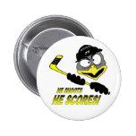 Botón del hockey del pingüino pins