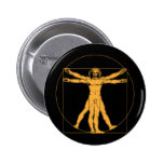 Botón del hombre de da Vinci Vitruvian Pin Redondo De 2 Pulgadas