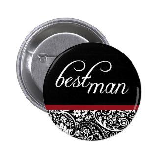 Botón del hombre de la belleza del damasco el mejo pin redondo de 2 pulgadas